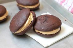 Peanut Butter & Chocolate Whoopie Pies. A fun snack to make with your kids.