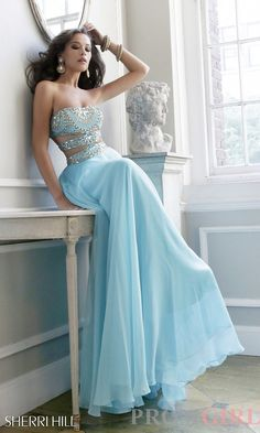 Prom Dresses, Plus Size Prom Dresses, Prom Shoes -PromGirl   : Long Strapless Dress with Side Cut Outs