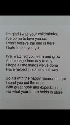Childminder child leaving poem
