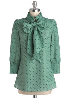 Print Journalist Top in Wintergreen - via ModCloth. I'd pair this with my dark chocolate brown pencil skirt.
