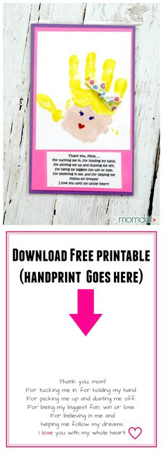 Mothers Day Hand print art for kids, frame or laminate and give to mom this mothers day - Free Printable for Mothers Day