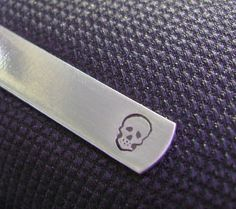 The Skull Tie Clip  Aluminum Hand Stamped Tie Bar by MetalsHeart, $15.00