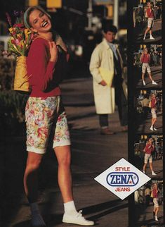 Just Seventeen — April 1990. 'Style Zena Jeans' 1990 Style, Tretorn Sneakers, 90s Fashion, Fashion Outfits, Shoes Ads, Casual Night Out, Magazine Images, Seventeen Magazine, Keds