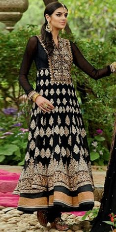 Georgeous Black And Off-White Georgette Designer Full Length Anarkali Suit With Chiffon Dupatta.