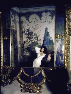 Sophia Loren wearing Dior is reflected in an antique Venezian mirror in her villa, photo by Alfred Eisenstaedt, Rome, Italy, June 1964