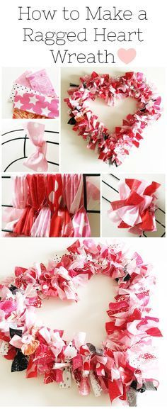 Diy Crafts : Illustration Description How to make a Valentine's Heart Fabric Rag Wreath- a cute Valentine's Day Craft idea. Rag Wreath Tutorial Crafting is just…Fun! -Read More – - Valentine Day Wreaths, Valentines Day Decorations, Valentine Day Crafts, Valentine Heart, Cute Valentines Day Gifts, Printable Valentine, Homemade Valentines, Cute Valentines Day Ideas, Heart Decorations