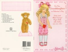 For You, GRANDDAUGHTER on Valentine's Day Vicky and Albert George Paper Dolls American Greetings 185V 2408-2A  by Karen Reilly 1 of 4