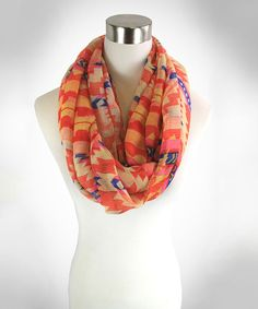 Take a look at this Blue & Orange Geometric Infinity Scarf on zulily today!