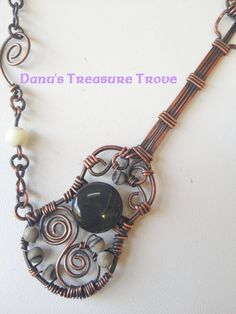 <>>Makes your Heart Sing!<<> Wire Wrapped Guitar with rainbow obsidian, black silk marbles mother-of-pearl beads and copper wire - by DanusTreasureTrove Wire Pendant, Wire Wrapped Pendant, Wire Wrapped Jewelry, Metal Jewelry, Pendant Jewelry, Beaded Jewelry, Handmade Jewelry, Wire Crafts, Jewelry Crafts