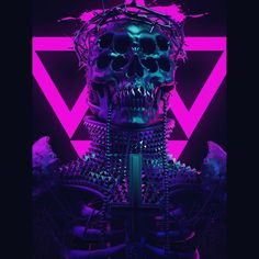 #neon #demon #crosses #glow