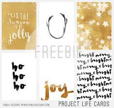 FREE Kimla Designs : Free Project Life December Daily Journaling Cards