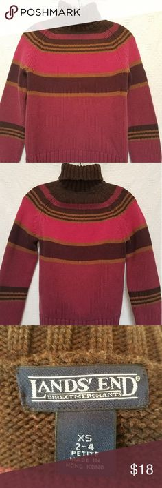 Lands' End Turtleneck Sweater Classic, cozy, striped turtleneck in brown, raspberry, pink. Very good condition. Good quality. Size is XS 2-4P. Lands' End Sweaters Cowl & Turtlenecks