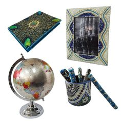 """Christmas Gift Lot Globe, Photo Frame, Pen Pot, Diary Decorative Material Mdf Lac Handmade Table Topper Home Décor Multicolor Set of 4 Items. Beautiful Handmade gift lot which include Globe, Diary, Pen Pot and Photo Frame. This ethnic gift lot combine traditional with a modern design, a great accessory for traditional touch. Material, Size and Color- Globe : Material-Plastic and Iron, Size-Stand -12"""" and Plastic Ball-8"""" Inches, Color-Silver Diary : Material-Satin and Lac, Size-Length - 6""""…"""