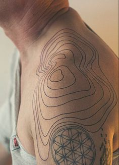 """Tattoo picture """"Relief Lines Shoulder Tattoo"""" is one of tattoo ideas listed in the Minimalistic Tattoos category. Feel free to browse other tattoo ideas Map Tattoos, Body Art Tattoos, Cool Tattoos, Abstract Tattoos, Buddha Tattoos, Geometric Tattoos, Black Tattoos, Tribal Tattoos, Tatoos"""