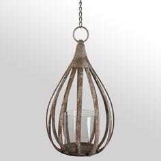 "15"" metal teardrop lantern"