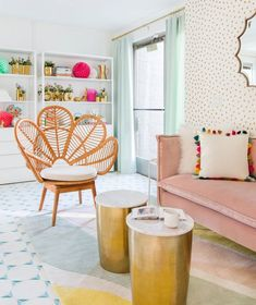 22 Modern Living Room Design Ideas | A rainbow-colored living room is hard to achieve without being too overwhelming, but blogger Joy Cho of Oh Joy! knows just how to balance things out in this swoon-worthy living room. Balance out colors with lighter tones and make sure to include enough white space or earthy accents like Cho does. #realsimple #livingroomdecor #livingroomideas #details #homedecorinspo Workspace Design, Home Office Design, Library Design, Living Room Designs, Living Room Decor, Living Rooms, Dining Decor, Dining Chairs, Kitchen Living