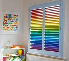 Tips for coloring Venetian Blinds.  I love this splash of color... rainbow!