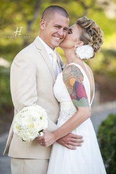 Karl Strauss Brewery wedding Tatood bride cool wedding hair for a bride