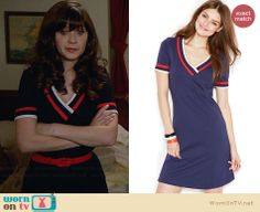 Jess's blue v-neck dress with red and white trim on New Girl.  Outfit Details: http://wornontv.net/31946/ #NewGirl