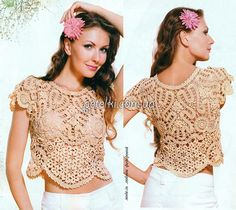 Crochet Blouse with Bruges Lace ~ Diagrams/Charts with general instructions ~ Not in English | Блуза крючком. Брюггское кружево. Описание, схемы вязания
