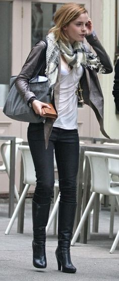 Emma Watson's ensemble - scarf, jacket and boots