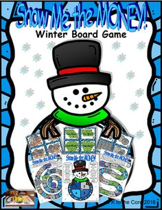 Digital download, $3, available at https://www.teacherspayteachers.com/Product/Snow-me-the-MONEY-Winter-Board-Game-2906689 This money counting game is ideal for whole/small groups, homework, home school activities or just for the FUN of it!