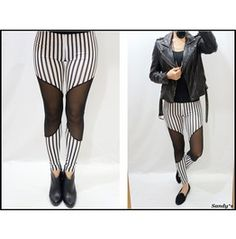 Black & White Striped Mesh Leggings would look so good on me lol