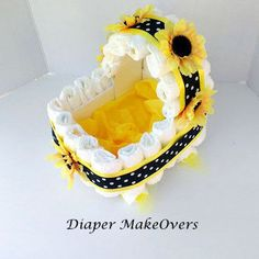 Sunflower Gift Basket – Carriage Diaper Cake – Unique Baby Shower Centerpiece… – Baby shower ideas for Sarah - Baby Shower Cute Baby Shower Ideas, Baby Girl Shower Themes, Girl Baby Shower Decorations, Baby Shower Gender Reveal, Baby Shower Centerpieces, Cadeau Baby Shower, Baby Shower Diapers, Baby Shower Cakes, Baby Shower Gifts