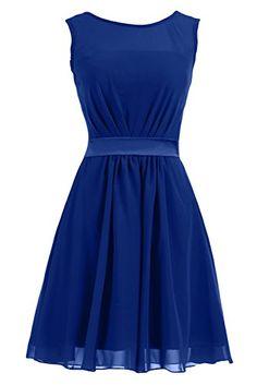 Sunvary Summer Short Chiffon Sheath Mother of the Bride Dresses Bridemaid Dress- US Size 18W- Royal Blue
