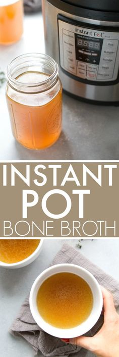 """Instant Pot """"Better Than Botox"""" Bone Broth is full of natural collagen! Make chicken, porkor beef stock using kitchen scraps and your electric pressure cooker. // benefits // recipe // chicken // soup // how to Bone Broth Fast Recipe, Chicken Bone Broth Recipe, Bone Broth Soup, Pork Broth, Recipe Chicken, Chicken Recipes, Instapot Bone Broth, Instapot Chicken Soup, Instant Pot Pressure Cooker"""