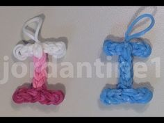 Rainbow Loom Skinny LETTER I Charm. Designed and loomed by jordantine1. Click photo for YouTube tutorial. 04/18/14.