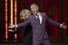 Hosts Kristin Chenoweth and Alan Cumming perform a song. REUTERS/Lucas Jackson