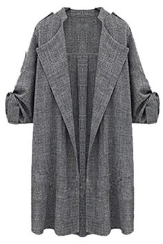 Women Autumn Winter Casual Open Front Loose Midi Elegant Trenchcoat Outwear Plus Size Grey XXL