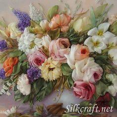 "*RIBBON ART ~ Paintings of flowers handmade. Fair Masters - handmade bouquet in a vase ""Roses"". Ribon Embroidery, Embroidery Designs, Hand Embroidery Patterns, Ribbon Art, Diy Ribbon, Ribbon Crafts, Silk Flowers, Fabric Flowers, Paper Flowers"