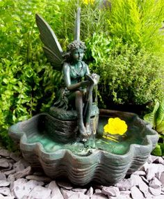 Sunnydaze Fairy Shell On Pedestal Fountain Inch Tall Outdoor