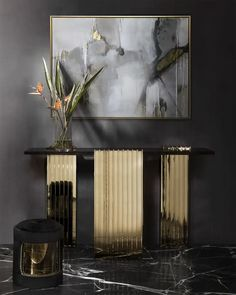 An exceptional hallway touch-up: a modern console table with fascinating gold columns by and the extremely comfortable Armour Stool, also by Luxxu, in black and gold tones, adds the finishing touches to this hallway (and to any decor for that matter! Marble Console Table, Modern Console Tables, Luxury Furniture, Furniture Ideas, Architecture, Decoration, Interior Inspiration, Living Room Decor, Living Area