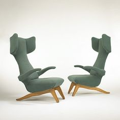 FRANCO CAMPO AND CARLO GRAFFI  lounge chairs, pair  Italy, c. 1951  fruitwood, upholstery