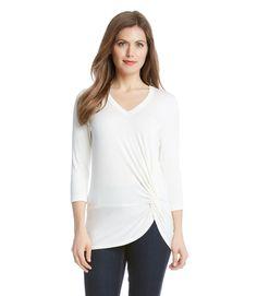 Karen Kane 3L13595 Cream V-Neck Side Twist Stretch Jersey Top - $79   eBay Karen Kane, V Neck, Cream, Stylish, Sleeves, Tops, Women, Ebay, Fashion