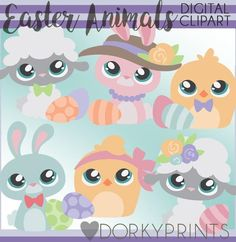 Easter Animals Clipart - great for Easter and spring craft projects, planners, classrooms, and cards!
