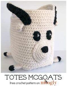 Totes McGoats... yep, it's a goat tote! Free crochet pattern on Mooglyblog.com! Make it with one of our featured yarns - Wool-Ease Chunky! Save 20% on this yarn for a limited time. Free crochet pattern calls for 4 balls of yarn and size I (5.5 mm) and K (6.5 mm) crochet hooks.
