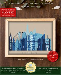 This is modern cross-stitch pattern of London for instant download. A cool tip to decorate your living room. You will get a PDF file, which includes: - main picture for your reference; - colorful scheme for cross-stitch; - list of DMC thread colors (instruction and key section);