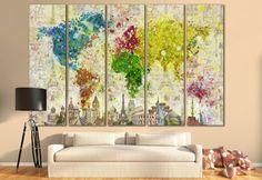 LARGE World Map Canvas Print Wall Art / 13 or 5 Panel door ZellartCo