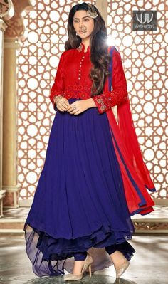 Intriguing Blue Color Embroidered Work Anarkali Salwar Suit  Make the heads turn when you costume up in such a gorgeous blue banglori silk and faux chiffon anarkali suit. The embroidered and resham work appears to be chic and best for party, festival and reception