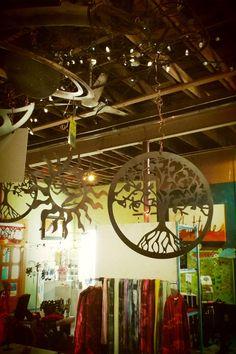 Just hangin' out. #Treeoflife #hangingsculptures #localart #GardenDeva www.gardendeva.com