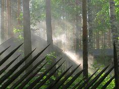 Smoke sauna warming up