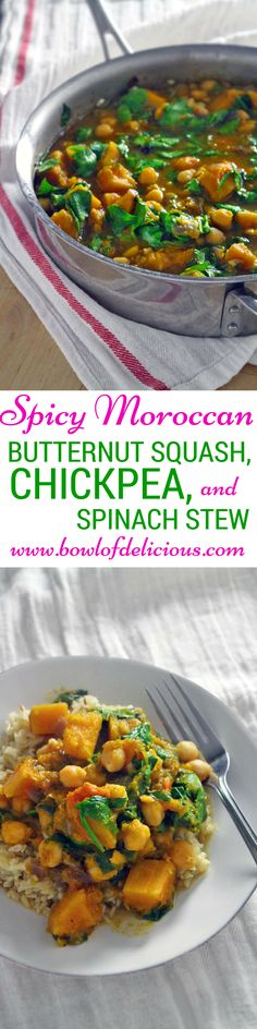 Spicy Moroccan Butternut Squash Chickpea and Spinach Stew