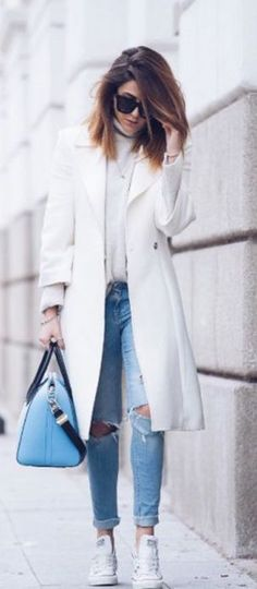 #winter #fashion / white knit + ripped denim