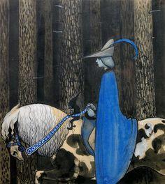 "John Bauer illustration, entitled ""Då och då tog tomten tag i tyglarna"" John Bauer, Troll, Cavalier Bleu, Art Vintage, Fairytale Art, Equine Art, Oeuvre D'art, Painting & Drawing, Fantasy Art"
