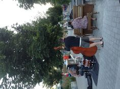 At the False Creek village today.  Pass-by musicians.