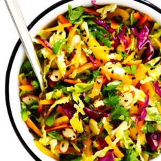 This easy Sesame Asian Slaw recipe is quick and easy to make, tossed with the yummiest sesame vinaigrette, and can easily double as a side salad or big entree salad. Side Salad Recipes, Slaw Recipes, Entree Recipes, Cooking Recipes, Cooking Ideas, Crockpot Recipes, Dinner Recipes, Coleslaw Recipe Easy, Homemade Coleslaw